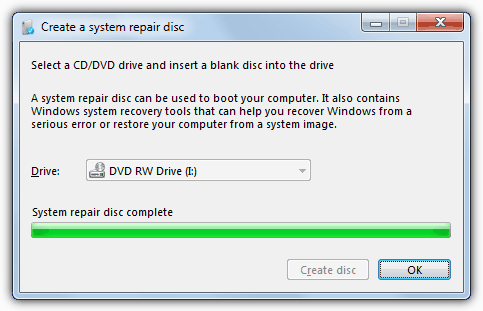 recdisc Create System Repair Disc