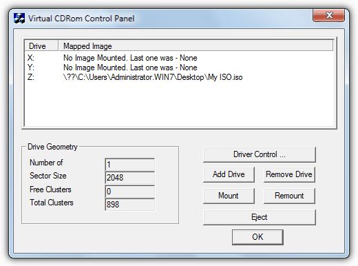 Microsoft Virtual CDRom Control Panel