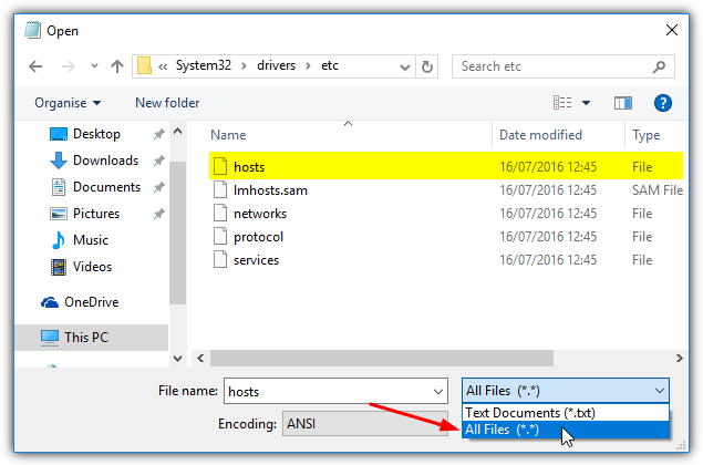 view hosts file in notepad