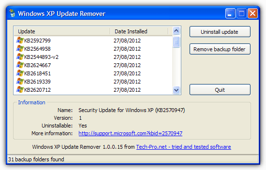 Windows XP Update Remover