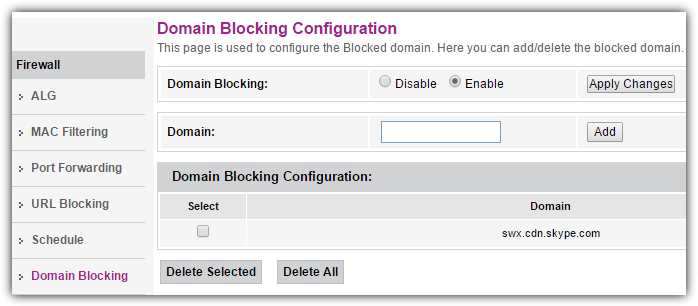 domain blocking feature in router