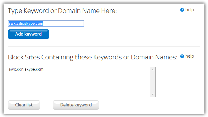 router site and keyword blocking
