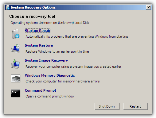 System Recovery Options USB