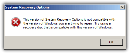 windows recovery options error