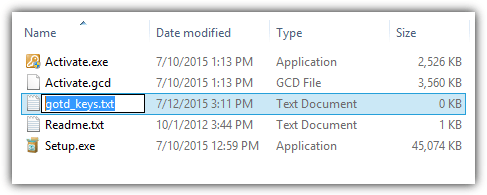 create gotd text file key
