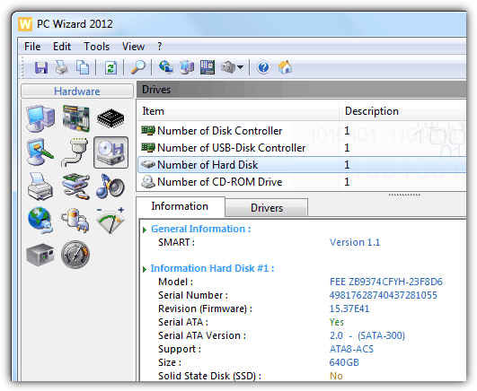 pc wizard hard disk serial