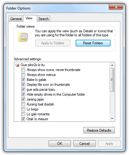Folder Options Advanced Settings Corrupted
