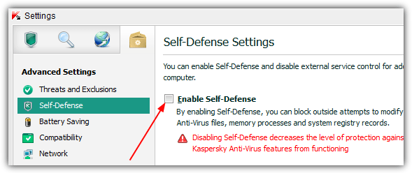 kaspersky rog disable self defense