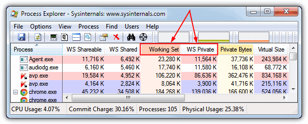process explorer working set ws private