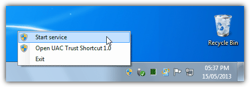 UAC Trust Shortcut Tray Manager