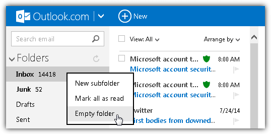 outlook.com empty folder