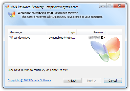 bytexis msn password viewer