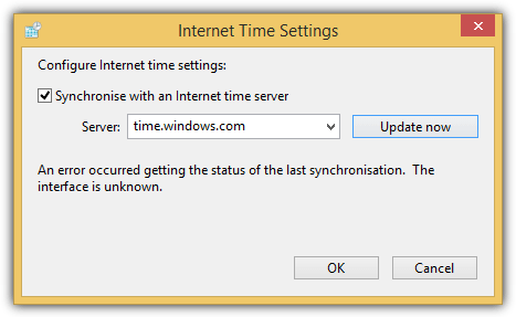 error synchronize time server