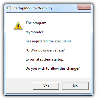 startupmonitor warning