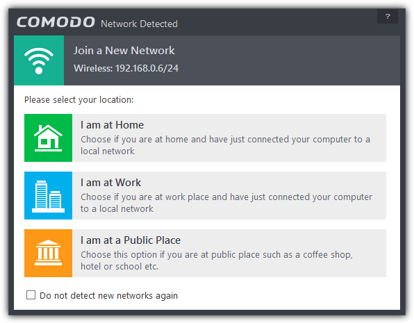 comodo network detected
