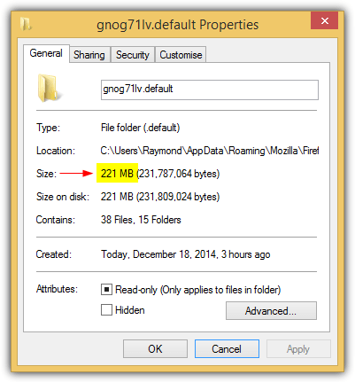 firefox profile folder size