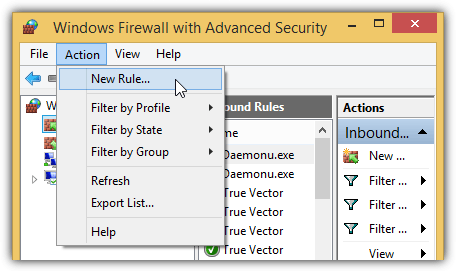 windows firewall add new rule
