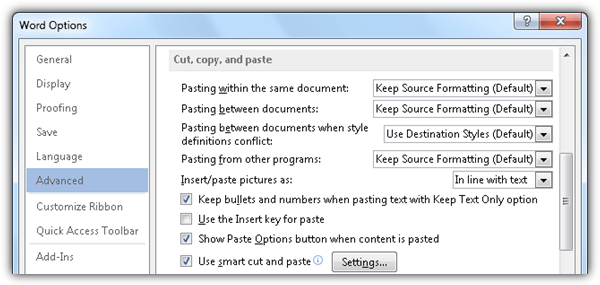 word 2013 cut copy paste options