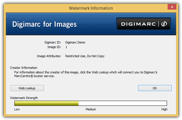 digimarc watermark information