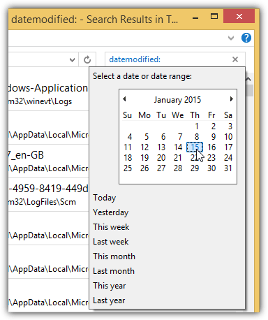 windows search datecreated datemodified