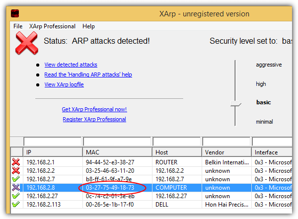 xarp arp attacks detected
