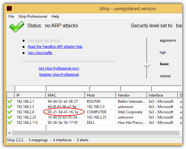 xarp no arp attacks