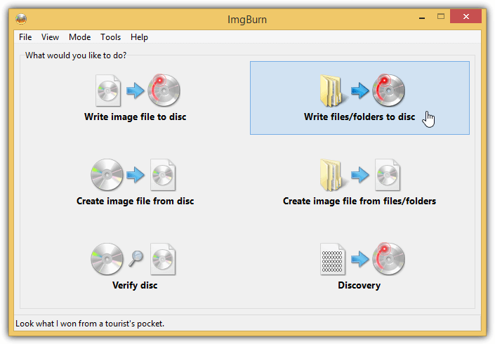 imgburn write files folders to disc