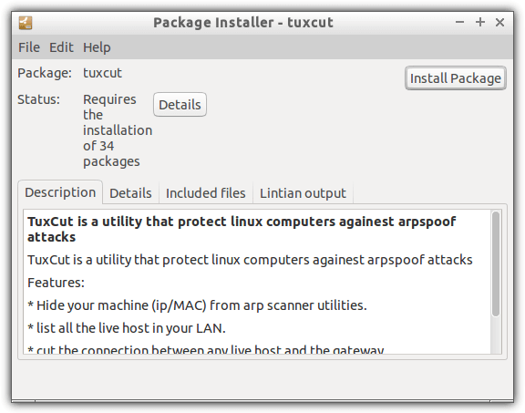 install tuxcut package