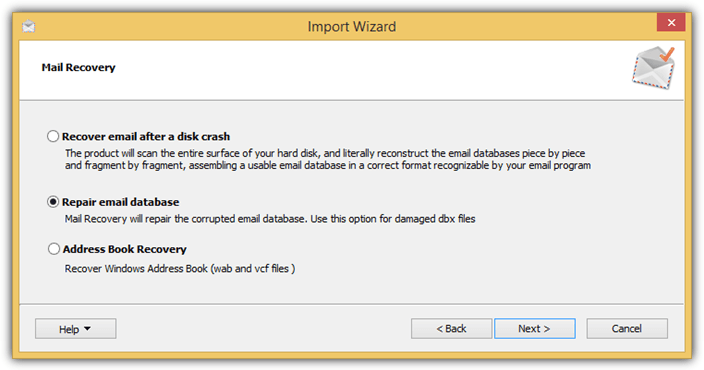mail recovery import wizard
