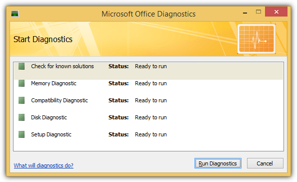 microsoft office diagnostics