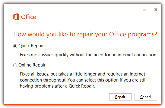 office 2013 quick online repair