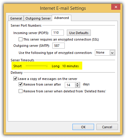 outlook server timeout setting