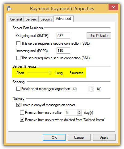 windows live mail server timeouts