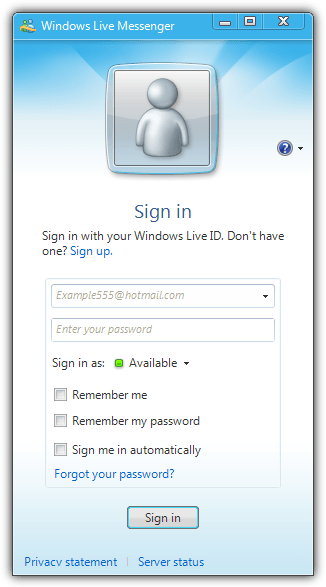 Windows Live Messenger Remember Me