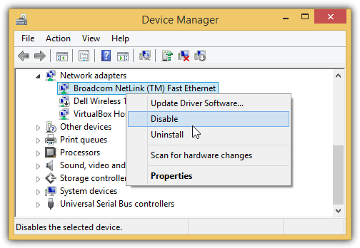 disable device driver