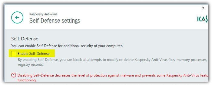 disable kaspersky self defense