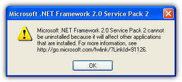 net framework cannot be uninstalled