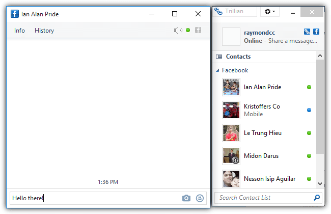 facebook chat on trillian