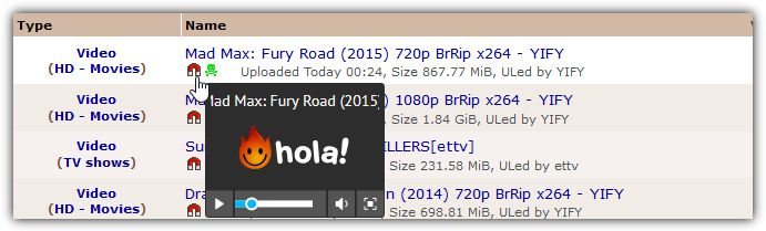 hola media player popup