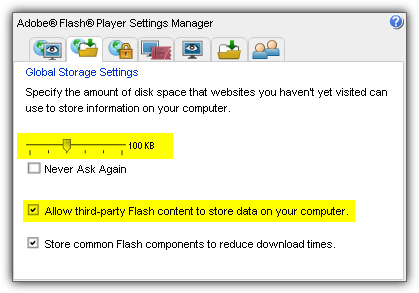 flash cookies storage settings