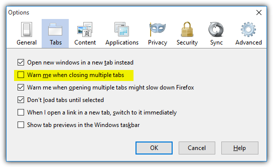 old firefox options warn closing multiple tabs