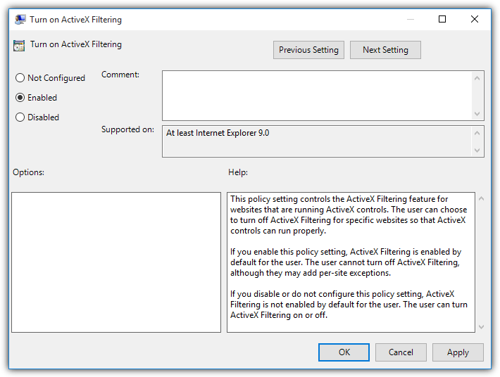 enable activex filtering group policy