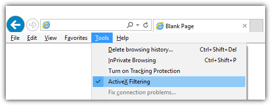 turn off activex filtering