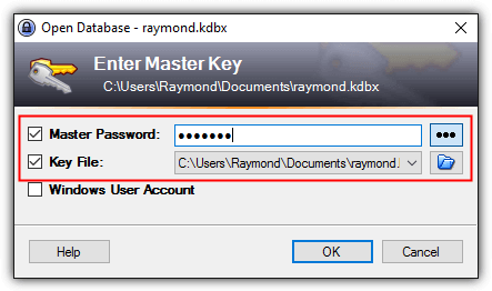 keepass master password key file