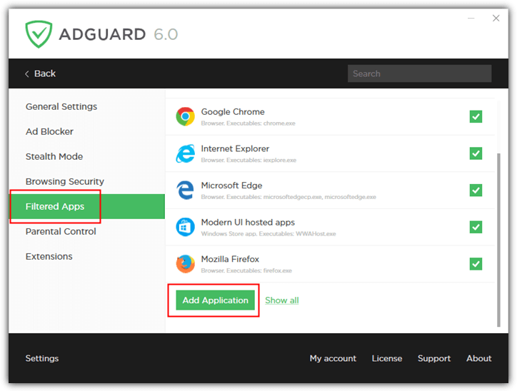 adguard filtered apps