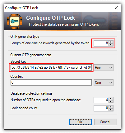 configure otp lock