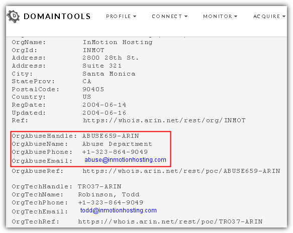 domaintools whois abuse department