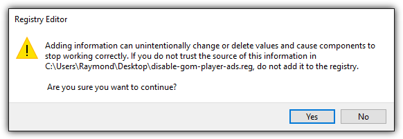 regedit disable gom player ads