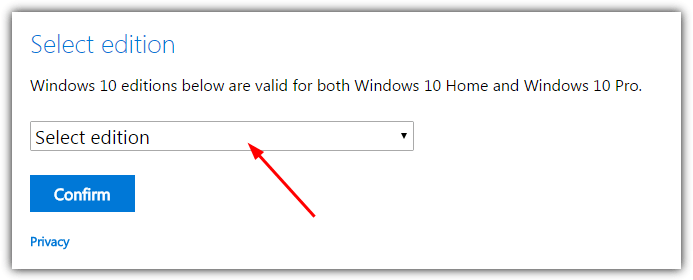 select windows edition dropdown