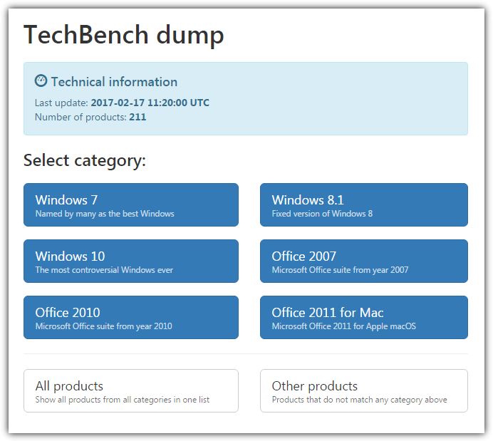techbench dump page